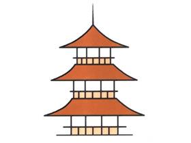 中国传统宝塔简笔画画法图片步骤