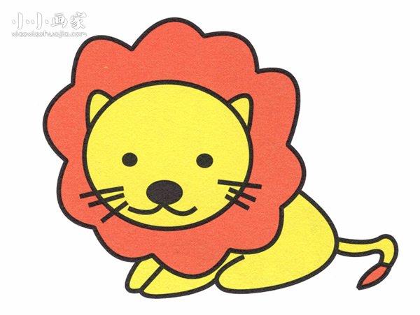 可爱小狮子简笔画_可爱小狮子简笔画画法图片步骤_小小画家