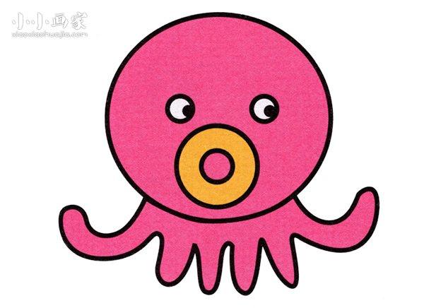 卡通小章鱼简笔画画法图片步骤- www.xiaoxiaohuajia.com