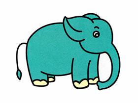 彩色小象简笔画画法图片步骤