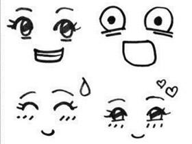 卡通人物表情简笔画画法图片步骤