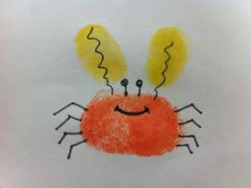 简单又可爱小螃蟹手指画图片教程