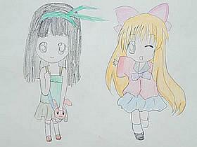 可爱又漂亮小女孩彩铅画作品图片