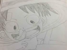 海贼王路飞铅笔画作品图片