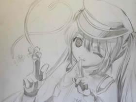 动漫美少女铅笔画作品图片