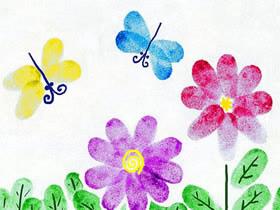 花丛中飞舞的蜻蜓手指画图片教程