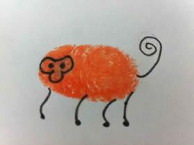 可爱小猴子手指画图片教程