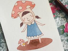 戴蘑菇帽的小女孩彩铅画画法教程