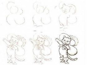 不同形态猫咪铅笔画画法教程