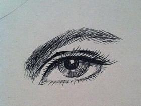 英气勃勃的眼睛铅笔画画法教程