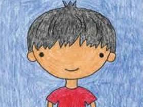 穿夏装的小男孩简笔画画法图片步骤