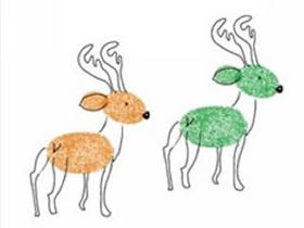 漂亮的两只麋鹿手指画图片教程