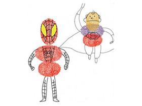 蜘蛛侠和超人手指画图片教程