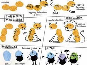 老虎、狮子和小人的手指画图片教程