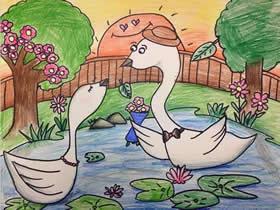 求爱的天鹅蜡笔画作品图片
