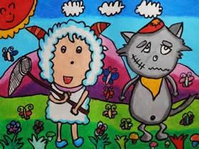 灰太狼和喜羊羊的蜡笔画作品图片