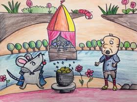 变魔术的老鼠蜡笔画作品图片