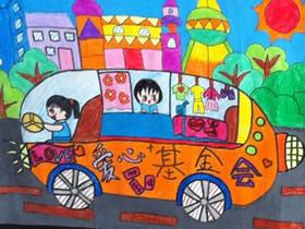 我是汽车驾驶员蜡笔画作品图片