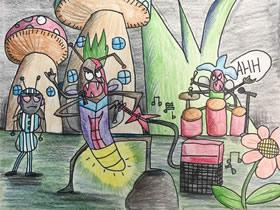 卖力表演的萤火虫乐队蜡笔画作品图片