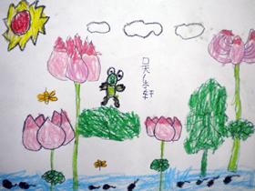夏日荷塘蜡笔画作品图片