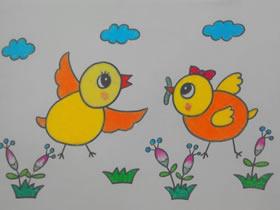 捉虫子的小鸡蜡笔画作品图片