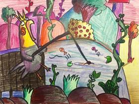 钓鱼的小鸟蜡笔画作品图片