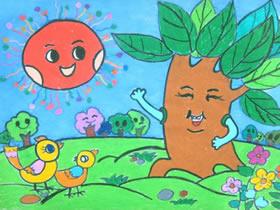 跟太阳打招呼的大树蜡笔画作品图片