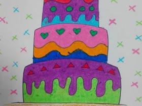 三层的生日蛋糕蜡笔画作品图片