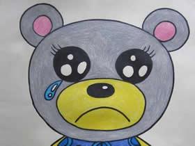 哭泣的小熊蜡笔画作品图片