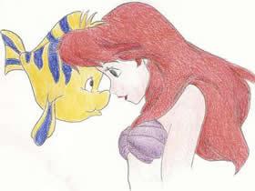 美人鱼和小胖鱼蜡笔画作品图片