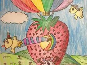 热气球上的小鸟蜡笔画作品图片