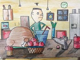 抓老鼠蜡笔画作品图片