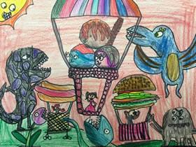 一起逛怪兽乐园蜡笔画作品图片