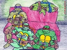 玩游戏的忍者龟蜡笔画作品图片