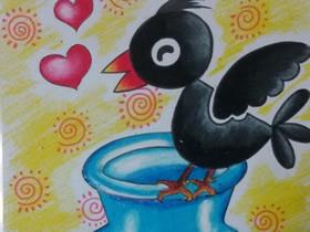乌鸦喝水蜡笔画作品图片