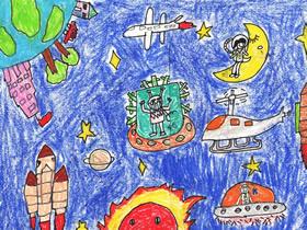 太空遨游科幻蜡笔画作品图片