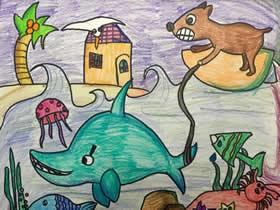 冲浪的狗狗蜡笔画作品图片