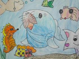 神奇的海底世界蜡笔画作品图片