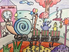 拉火车的蜗牛卡通蜡笔画作品图片