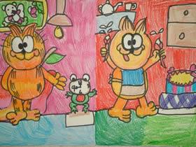 可爱加菲猫蜡笔画作品图片