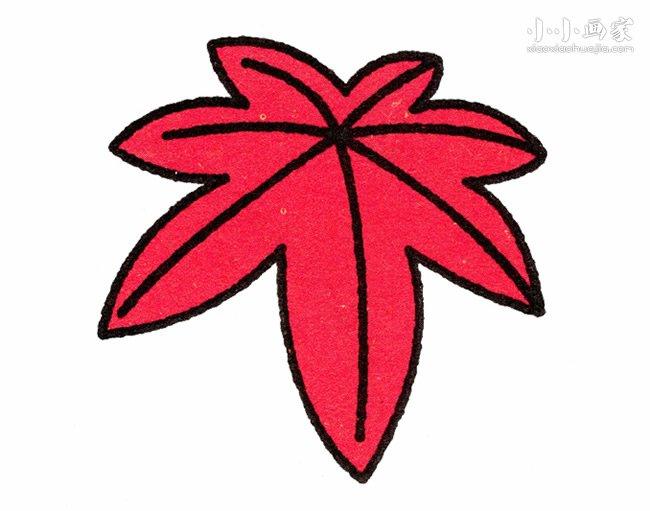 火红枫叶简笔画画法图片步骤