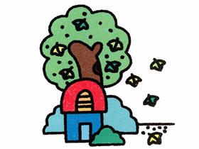 落叶满地的秋天简笔画画法图片步骤