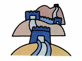 群山中的长城简笔画画法图片步骤