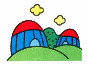 草原上的蒙古包简笔画画法图片步骤