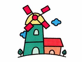 荷兰风车简笔画画法图片步骤