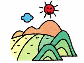 山坡上的稻田简笔画画法图片步骤