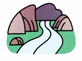 山川间的河流简笔画画法图片步骤