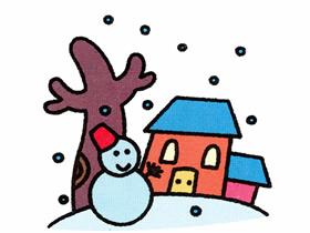 冬天下雪了简笔画画法图片步骤