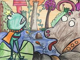 小青蛙和大狗狗蜡笔画作品图片