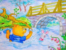 桥下玩水的小熊和小猪蜡笔画作品图片